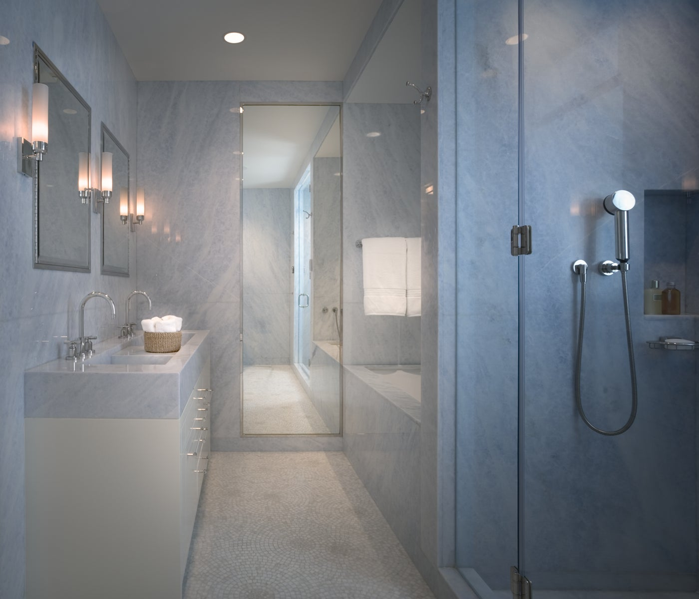 Marble master bathroom in NYC apartment, double sinks, full length mirror
