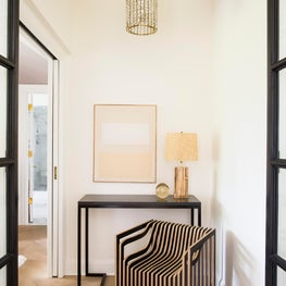 Seattle. Bedroom Entry with stacked plywood impression chair by Julian Mayor.