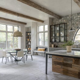 Bright & airy kitchen with natural wood & stone accents; Houston, TX