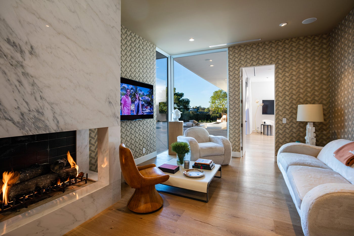 Cozy Sitting Area with Custom Fireplace - Trousdale Estates/Coldwater Canyon