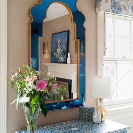French Blue Mirror and Bone Inlay Lounge
