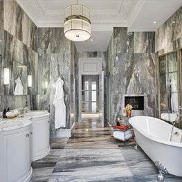 Grand Master Bathroom in a modernized restoration of a Victorian home