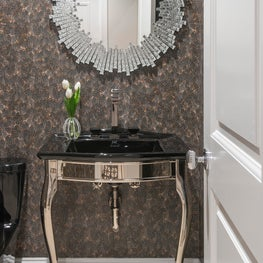 Boston Foyer - Hand crafted  feather paper by Zoe Wallcovering, Vaughan Mirror