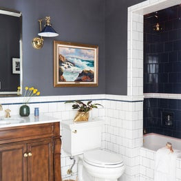 Silver Lake Guest Bath Renovation with Greek Key Border and Blue Tile Accents