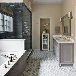 Master bathroom, jacuzzi tub, blue tile shower, marble herringbone floor, gray