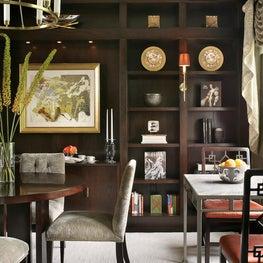 NYC modern, Library/Dining room, custom millwork, custom wood ceiling details