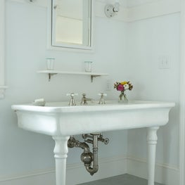 Antique JL Mott sink in guest bathroom.