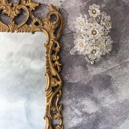 Baroque Mirror with Crystal Sconce