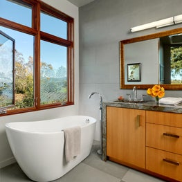 Master bath in Napa cabin with etched glass for privacy.
