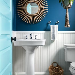 Cottage style powder room in Hampton's weekend home