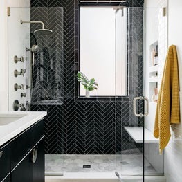 Classic black and white luxury bathroom