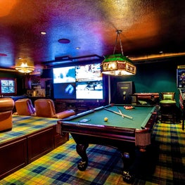 Man Cave Media / Game Room, Theater Seats, Tiffany Lights, Faux Metallic Ceiling