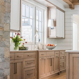 Modern Coastal Farmhouse Style Connecticut House Wood and Stone Kitchen