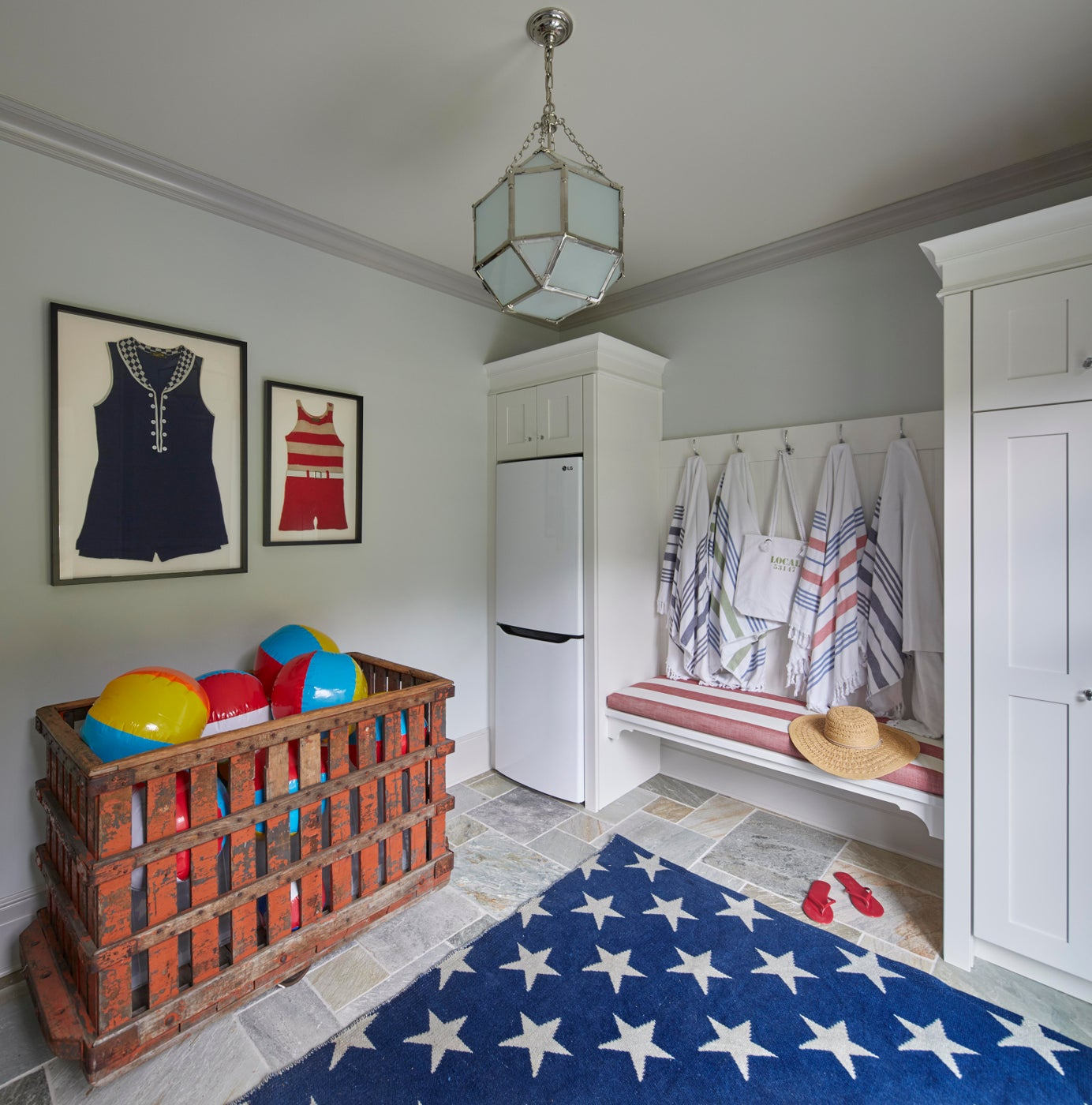 Red, white & blue Mini-Cabana with orange industrial cart, vintage bathing suits