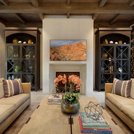 Spanish Colonial Equestrian Estate, dark wood custom wall cabinetry detail