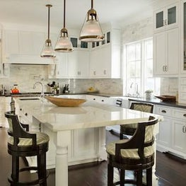 Fryman Canyon - Kitchen with burnished brass accents and marble island