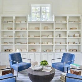 Study, Seating Area, Blue Lee Industries Chairs, Custom John Rosselli fabric, Noir Cocktail Table, Stark Rug, Built-In Shelving— Pine Lake Project