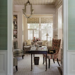 Textured home office with Phillip Jefferies wallpapered ceiling designed by Robin Gannon Interiors