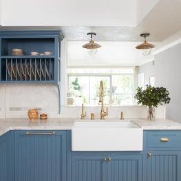 Coastal Kitchen in Blue and Brass