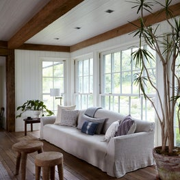Organic Neutral Shingle Style New England Craftsman Home Living Area