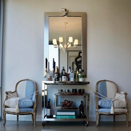 Modern Bar Cart with French Bergere Chairs