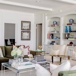 Houston Living Room Moss Green Velvet Sofas, Brass Chairs, Lucite Coffee Table