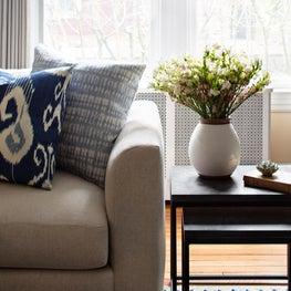 Ridgedale, A Modern Sofa with Blue Ikat Pillows