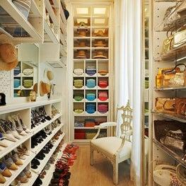A well-organized accesories closet on Billionaires Row in palm Beach