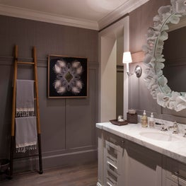 Powder Room with layered wall finishes
