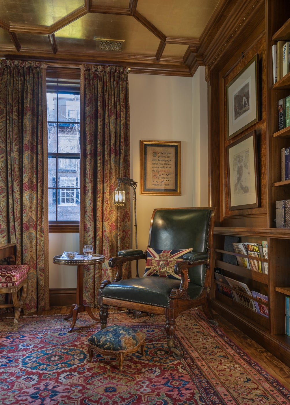 Old World Library with Gilt Coffered Ceiling and Rosewood Chair