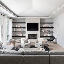Family room, black and white color scheme