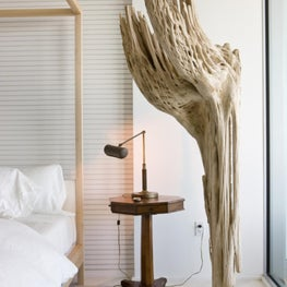 Master bedroom design detail with driftwood repurposed as sculpture
