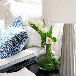 White Sofa and Blue Pillows in a North San Mateo Residence