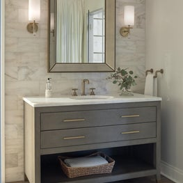 Transitional Guest Bath with Marble and Parquet Tile