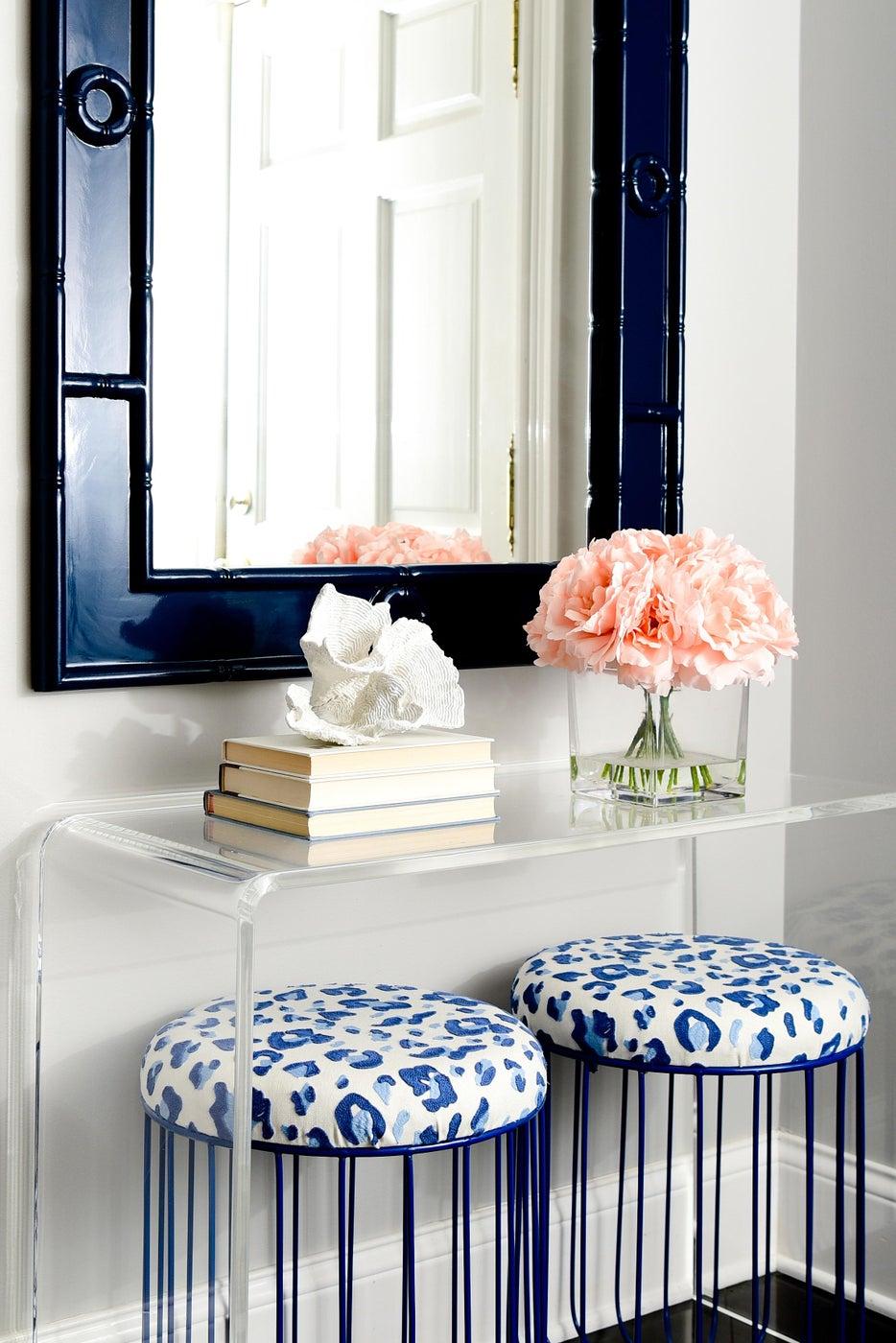 Blue and White Foyer Winnetka Residence