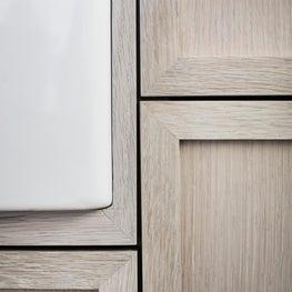 East Hampton Kitchen Detail Custom Cerused Oak Cabinetry with Farmhouse Sink
