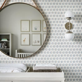 Lincoln Park Zoo | Nursery Vignette with Sun + Moon Wallpaper & Round Mirror