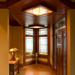 Modern Prairie Style Entry Foyer with Backlit Art Glass Ceiling Panels