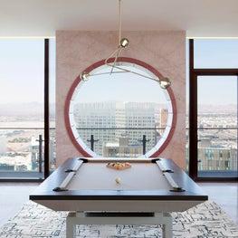 Cosmopolitan of Las Vegas - pool table & pink marble circle seat