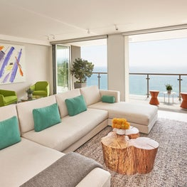 Fresh and fun colors come to life in the open air media room.