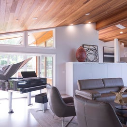 Portola Valley contemporary renovation. Living room.