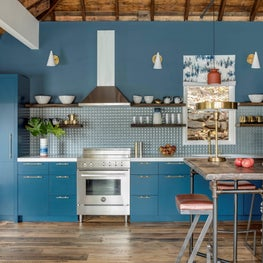 BLUE KITCHEN, WOOD CEILING, PILLOWED TILE BACKSPLASH, RECLAIMED OPEN SHELVING