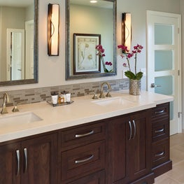 Master Bath combines neutrals and warm greys with transitional double vanity