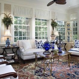 Blue & White Sunroom by Diane Burgoyne Interiors