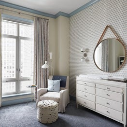 Lincoln Park Zoo | Neutral Nursery with Blue Contrast Trim