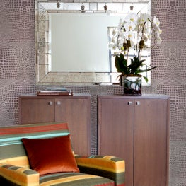 Chic mauve Crocodile Wallpaper by Brett Design, Inc in an eclectic living room.