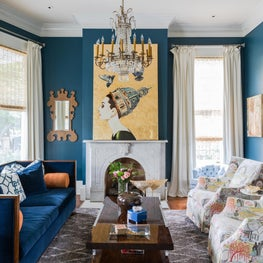 Formal Living with custom upholstery and original art by Ashley Longshore