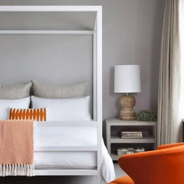 Guest Bedroom Neutral with a Pop of Color - Westlake Hills Residence, Austin, TX