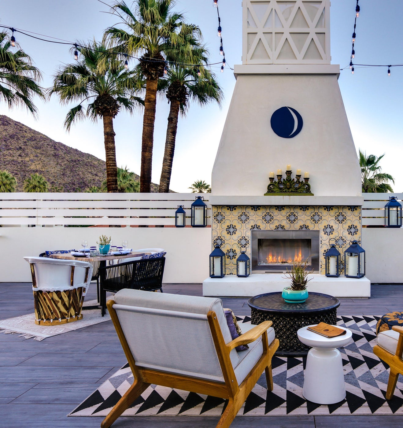 Roof deck with fireplace at Azucar in La Serena Villas Hotel