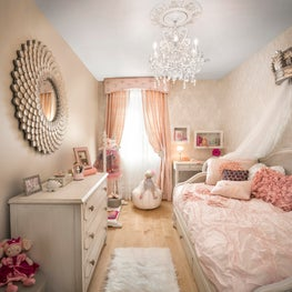 Park Slope Brownstone, girl's pink bedroom with crown bed canopy, custom drapery